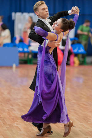 national championship: Minsk, Belarus-May 28, 2016: Unidentified Dance Couple Performs Juvenile-1 Standard European Program on National Championship of the Republic of Belarus in May 28, 2016 in Minsk, Republic of Belarus Editorial