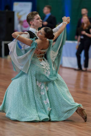 national championship: Minsk, Belarus -May 28, 2016: Unidentified Dance Couple Performs Juvenile-1 Standard European Program on National Championship of the Republic of Belarus in May 28, 2016 in Minsk, Republic of Belarus