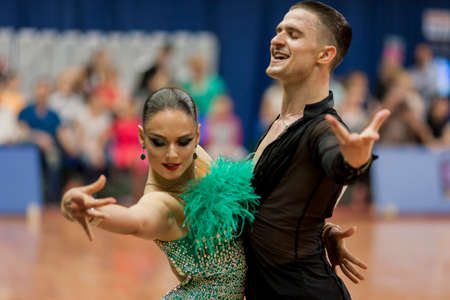 national championship: Minsk, Belarus-May 28, 2016: Kitcun Andrey and Krepchuk Yuliya Perform Adult Latin-American Program on National Championship of the Republic of Belarus in May 28, 2016 in Minsk, Belarus