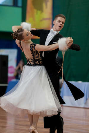national championship: Minsk, Belarus-May 28, 2016: Ermolovich Konstantin and Snegir Anna Perform Youth-2 Standard Program on National Championship of the Republic of Belarus in May 28, 2016 in Minsk, Belaru