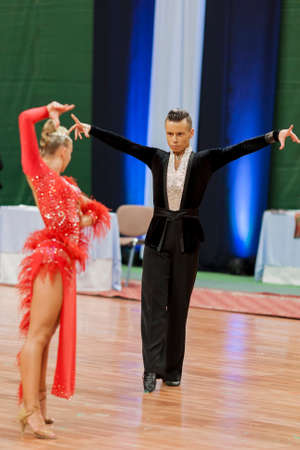 national championship: Minsk, Belarus-May 28, 2016: Kosyakov Egor and Navoychik Anna Perform Adult Latin-American Program on National Championship of the Republic of Belarus in May 28, 2016 in Minsk, Belarus