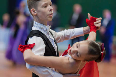 Minsk, Belarus-May 28, 2016: Unidentified Dance Couple Performs Juvenile-1 Standard European Program on National Championship of the Republic of Belarus in May 28, 2016 in Minsk, Republic of Belarus Editorial