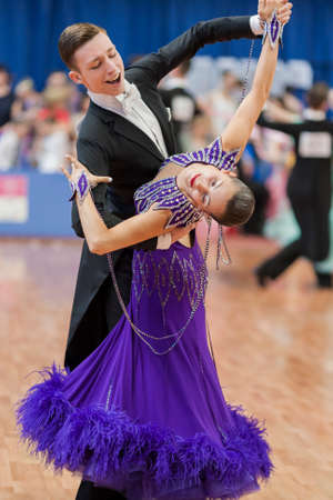 national championship: Minsk, Belarus-May 28, 2016: Kruk Timofey and Konopleva Diana Perform Youth-2 Standard Program on National Championship of the Republic of Belarus in May 28, 2016 in Minsk, Belarus