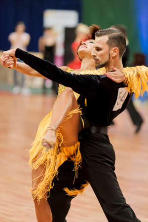 national championship: Minsk, Belarus –May 28, 2016: Podkas Sergey and Klepcha Anastasiya Perform Adult Latin-American Program During the National Championship of the Republic of Belarus in May 28, 2016 in Minsk, Republic of Belarus