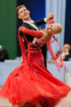 national championship: Minsk, Belarus –May 28, 2016: Buldyk Sergey and Raiko Alena Perform Adult Show Case Dance Show During the National Championship of the Republic of Belarus in May 28, 2016 in Minsk, Republic of Belarus