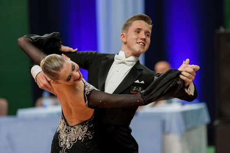 Minsk, Belarus –May 28, 2016: Sobolevskiya Iliya and Buldyk Arina Perform Youth-2 Standard Program on National Championship of the Republic of Belarus in May 28, 2016 in Minsk, Belarus