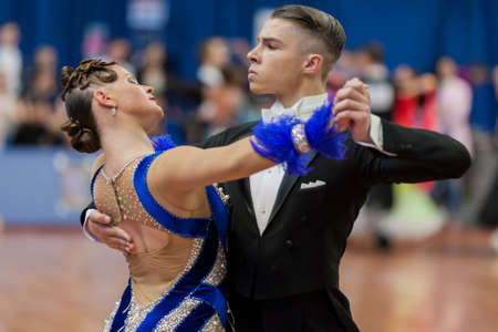 Minsk, Belarus –May 28, 2016: Daniil Shmidt and Alina Gumenyuk Perform Youth-2 Standard Program on National Championship of the Republic of Belarus in May 28, 2016 in Minsk, Republic of Belarus