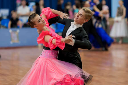 national championship: Minsk, Belarus �May 29, 2016: Dubovik Timofey and Zagrebailova Yana Perform Juvenile-2 Latin-American Program on National Championship of the Republic of Belarus in May 29, 2016 in Minsk, Republic of Belarus