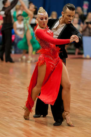 national championship: Minsk, Belarus �May 28, 2016: Kosyakov Egor and Navoychik Anna Perform Adult Latin-American Program on National Championship of the Republic of Belarus in May 28, 2016 in Minsk, Belarus Editorial