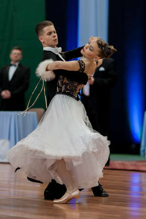 national championship: Minsk, Belarus May 28, 2016: Ermolovich Konstantin and Snegir Anna Perform Youth-2 Standard Program on National Championship of the Republic of Belarus in May 28, 2016 in Minsk, Belarus