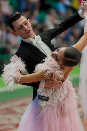 28: Minsk, Belarus May 28, 2016: Unidentified Dance Couple Performs Juvenile-1 Standard European Program on National Championship of the Republic of Belarus in May 28, 2016 in Minsk, Republic of Belarus Editorial