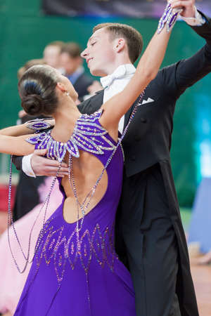 national championship: Minsk, Belarus May 28, 2016: Kruk Timofey and Konopleva Diana Perform Youth-2 Standard Program on National Championship of the Republic of Belarus in May 28, 2016 in Minsk, Belarus