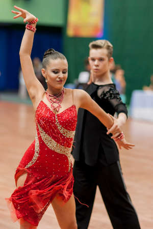 jive: Minsk, Belarus -May 29, 2016: Zelenskiy Ivan and Lantuhova Anna Perform Youth-2 Latin-American Program on National Championship of the Republic of Belarus in May 29, 2016 in Minsk, Belarus