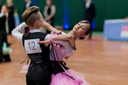 national championship: Minsk, Belarus -May 29, 2016: Tabolin Michail and Zhukovskaya Alina Perform Juvenile-1 Standard European Program on National Championship of the Republic of Belarus in May 29, 2016 in Minsk, Republic of Belarus