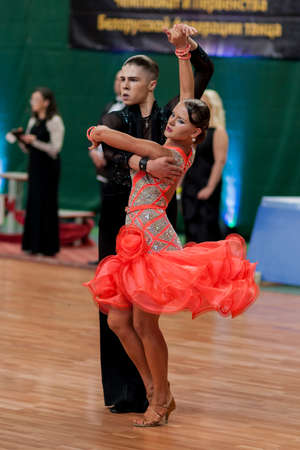 association: Minsk, Belarus May 29, 2016: Danila Shmidt and Alina Gumenyuk Perform Juvenile-2 Latin-American Program on National Championship of the Republic of Belarus in May 29, 2016 in Minsk, Republic of Belarus
