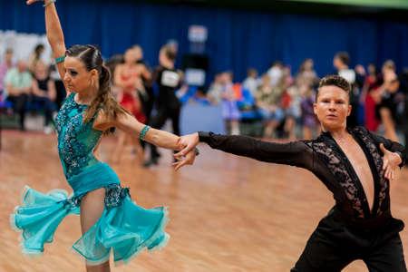 Minsk, Belarus -May 29, 2016: Shkinderov Vladislav and Belisova Polina Perform Youth-2 Latin-American Program on National Championship of the Republic of Belarus in May 29, 2016 in Minsk, Belarus