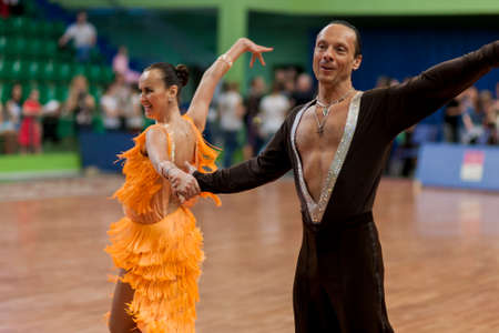 latinamerican: Minsk, Belarus -May 29, 2016: Senior Dance couple of  Zadruckiy Sergey and Zadruckaya Tatiana performs Adult Latin-American Program on National Championship of the Republic of Belarus in May 29, 2016 in Minsk, Belarus