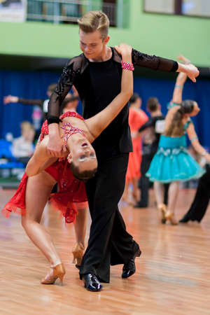national championship: Minsk, Belarus -May 29, 2016: Zelenskiy Ivan and Lantuhova Anna Perform Youth-2 Latin-American Program on National Championship of the Republic of Belarus in May 29, 2016 in Minsk, Belarus