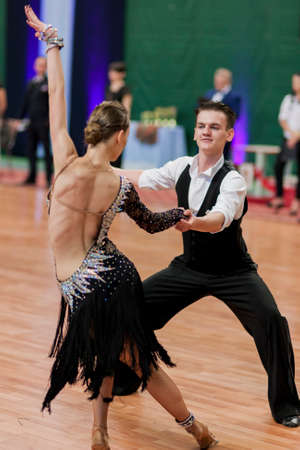national championship: Minsk, Belarus -May 29, 2016: Unidentified Dance Couple Performs Youth-2 Latin-American Program on National Championship of the Republic of Belarus in May 29, 2016 in Minsk, Belarus Editorial