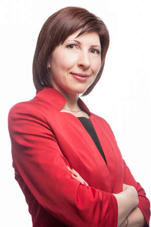 Businesswoman in Red Suit Posing Against White Background.Vertical Image Orientation Stock Photo