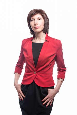 Young Caucasian Business Woman Natural Portrait. Posing Against White. Vertical Image Orientation