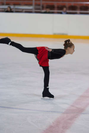 Minsk, Belarus -April 30, 2016: Figure Skater Vlada Kashinskaya from Belarus performs Bronze Class IV Girls Free Skating Program on National Figure Skating Championship of the Republic of Belarus in April 30, 2016 in Minsk,Belarus Editorial