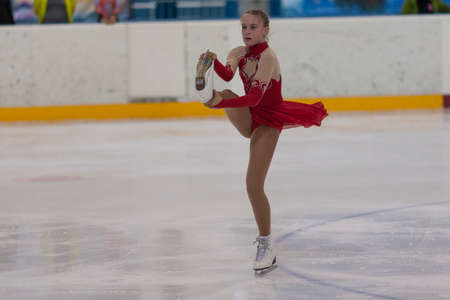 Minsk, Belarus -April 30, 2016: Figure Skater Dana Betina from Belarus performs Silver Class IV Girls Free Skating Program on National Figure Skating Championship of the Republic of Belarus in April 30, 2016 in Minsk,Belarus