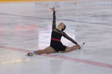 minsk: Minsk, Belarus -April 30, 2016: Figure Skater Alisa Gusejnova from Belarus performs Adult Pre-Bronze Class I Ladies Free Skating Program on National Figure Skating Championship of the Republic of Belarus in April 30, 2016 in Minsk,Belarus Editorial