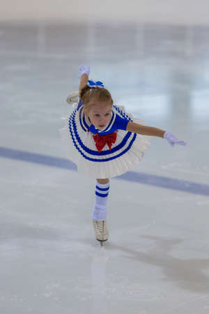 Minsk, Belarus -April 30, 2016: Figure Skater Eva Vilt from Russia performs Silver Class II Girls Free Skating Program on National Figure Skating Championship of the Republic of Belarus in April 30, 2016 in Minsk,Belarus Editorial