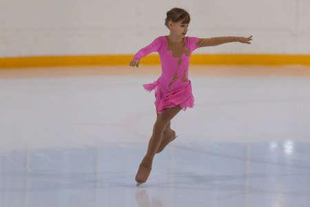 Minsk, Belarus -April 30, 2016: Figure Skater Viktoriya Rodionova from Russia performs Silver Class III Girls Free Skating Program on National Figure Skating Championship of the Republic of Belarus in April 30, 2016 in Minsk,Belarus