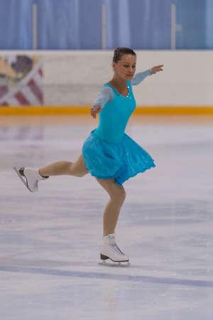 Minsk, Belarus -April 30, 2016: Figure Skater Svetlana Kudris from Belarus performs Adult Pre-Bronze Class II Ladies Free Skating Program on National Figure Skating Championship of Belarus in April 30, 2016 in Minsk,Belarus Editorial