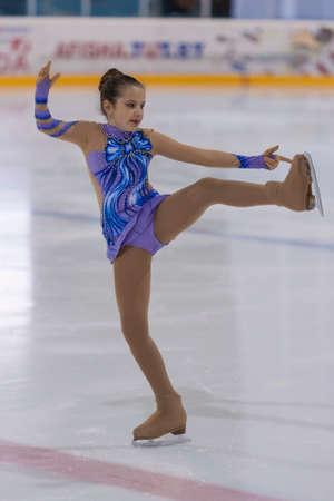 Minsk, Belarus -April 30, 2016: Figure Skater Ekaterina Sejtsova from Belarus performs Silver Class IV Girls Free Skating Program on National Figure Skating Championship of the Republic of Belarus in April 30, 2016 in Minsk,Belarus