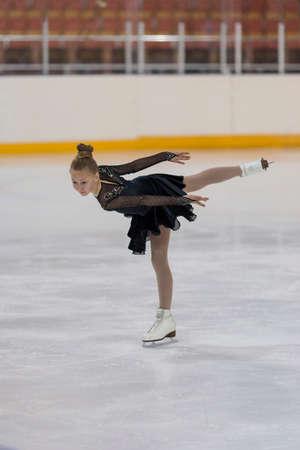 Minsk, Belarus -April 30, 2016: Figure Skater Irina Vakunova from Belarus performs Bronze Class III Girls Free Skating Program on National Figure Skating Championship of the Republic of Belarus in April 30, 2016 in Minsk,Belarus