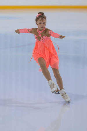 minsk: Minsk, Belarus -April 30, 2016: Figure Skater Kristina Strelkova from Russia performs Silver Class III Girls Free Skating Program on National Figure Skating Championship of the Republic of Belarus in April 30, 2016 in Minsk,Belarus Editorial