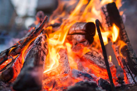 Extreme Closeup of Bonfire Burning with Red and Yellow Saturated Colors.Horizontal Image