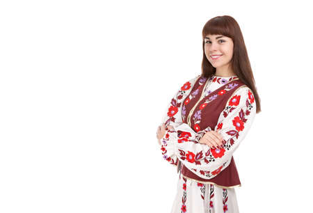 Smiling Brunette Woman Posing in Unique Hand-Made Belarus National Costume Dress. Against Pure White Background. Copy Space. Horizontal Image