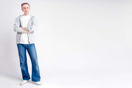against white: Full Length Portrait of Caucasian Man in Casual Clothing Posing Against White Background. Horizontal Image