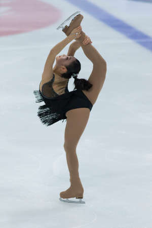 Minsk, Belarus -November 19, 2016: Unidentified Female Figure Skater performs Ladies Free Skating Program at Ice Star International Figure Skating competition in November 19,  2016 in Minsk, Republic of Belarus