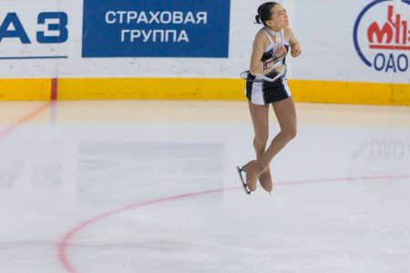 Minsk, Belarus -November 19, 2016: Unidentified Female Figure Skater performs Ladies Free Skating Program at Ice Star International Figure Skating competition in November 19,  2016 in Minsk, Republic of Belarus