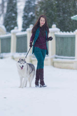 stroll: Woman and Her Lovely Husky Dog Taking  a Stroll Together Outside.Vertical Image Stock Photo