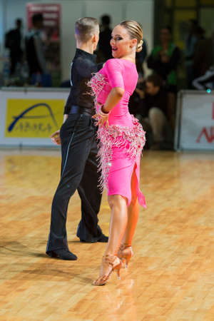 Riga, Latvia-December 16, 2016: Unidentified Dance Couple Performs Youth-2 Latin-American Program on the WDSF Baltic Grand Prix-2106 Championship in December 16, 2016 in Riga, Latvia.