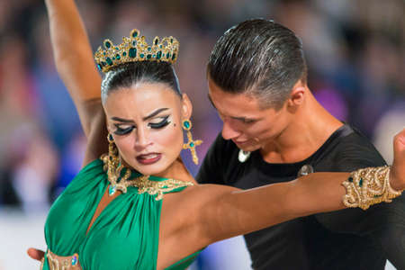 Riga, Latvia-December 17, 2016: Unidentified Adult Dance Couple Performs Youth Latin-American Program on the WDSF Baltic Grand Prix-2106 Championship in December 17, 2016 in Riga, Latvia.