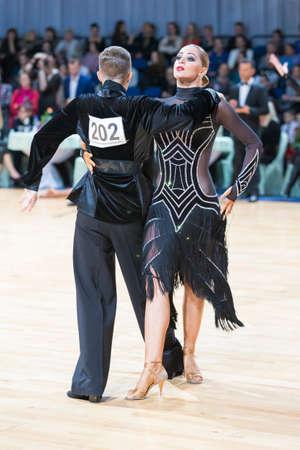 Minsk, Belarus-February 18, 2017: Unidentified Professional Dance Couple Performs Youth Latin-American Program on WDSF Minsk Open Dance Festival-2017 Championship in February 18, 2017 in Minsk, Belarus.