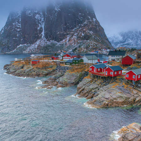Traditional Norwegian Fishing Hut Village in Hamnoy During Early Spring Time in Lofoten Islands, Norway. Square Shot Stock Photo