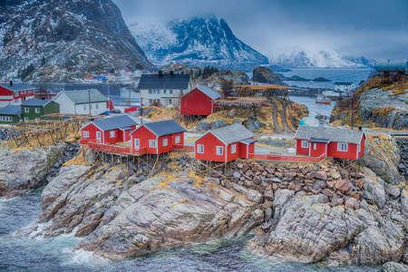 Traditional Norwegian Fishing Hut Village in Hamnoy During Early Spring Time in Lofoten Islands, Norway.Horizontal Shot Stock Photo