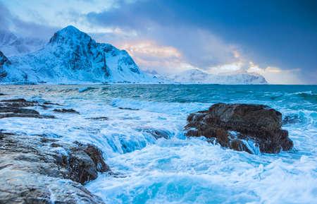 Ocean Waves and Roaring Water At Lofoten Islands in Norway.Horizontal Image