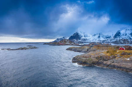 Travel concepts and Ideas. Picturesque Breathtaking View of Hamnoy Village at Lofoten Islands Shot from Upper Point.Horizontal Image composition