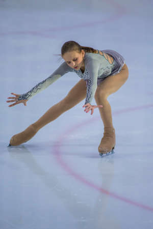 Minsk, Belarus -April 23, 2017: Unidentified Female Figure Skater Performs Adult Ladies Free Skating Program at Minsk Arena Cup 2017 International Figure Skating Competition in April 23,  2017 in Minsk, Belarus Editorial