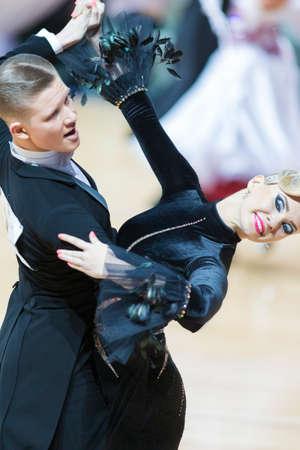Minsk, Belarus- February 18, 2017: Unidentified Dance Couple Perform Adult Standard European Program on WDSF Minsk Open Dance Festival-2017 Championship in February 18, 2017 in Minsk, Belarus. Editorial
