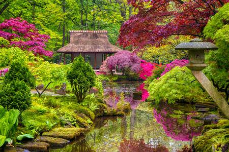 Conceptos de viaje. Increíble paisaje pintoresco de un jardín japonés con esculturas asiáticas Zen en el fondo de La Haya (Den Haag) en los Países Bajos, justo después de la lluvia. Tiro horizontal Foto de archivo